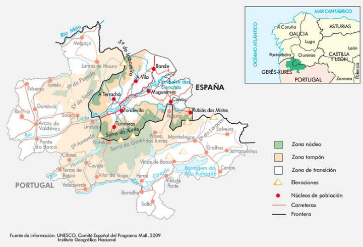 Mapa Reserva Biosfera Xurés-Geres