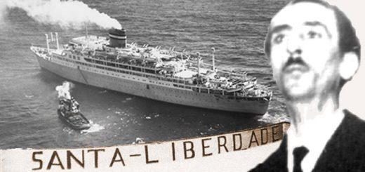 """Pepe Velo y el Transatlántico """"Santa María"""", rebautizado con el nombre de """"Santa Liberdade"""""""
