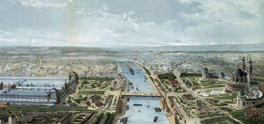 Pintura representando una panorámica de la Exposición Universal de Paris 1878