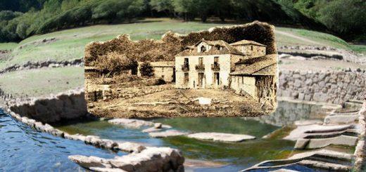 Antiguo balneario de Baños de Bande superpuesto a los restos actuales