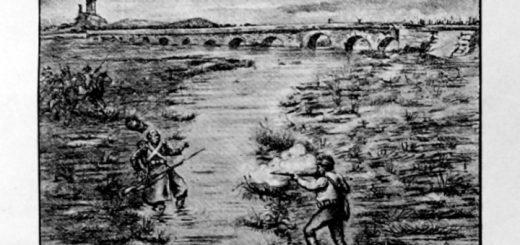 Dibujo de la batalla del Puente de la Laguna de Antela