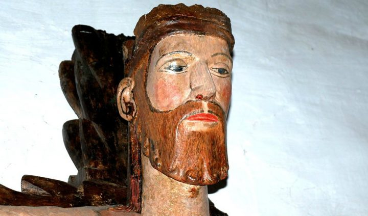 Detalle de la cabeza del Cristo de Vilanova dos Infantes