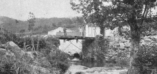 El puente internacional de Ponte Barxas fotografiado desde la orilla española en 1924/