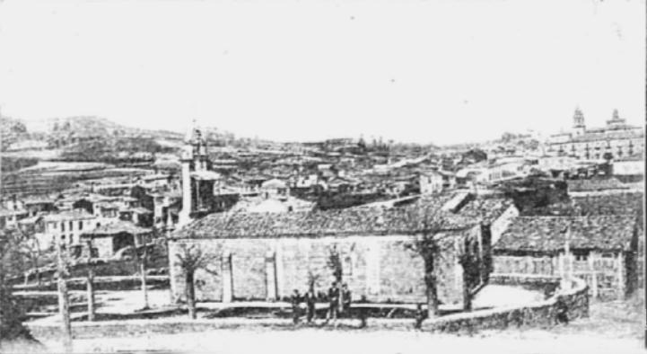 Capilla de la Encarnación y panorámica de Celanova en 1909