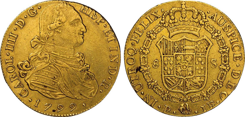 """Moneda de 8 escudos acuñada en 1799, conocida como """"pelucona"""" u onza"""