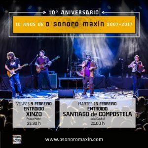 """Cartel del concierto de """"O Sonoro Maxín"""" en Xinzo, Gira 10º Aniversario"""