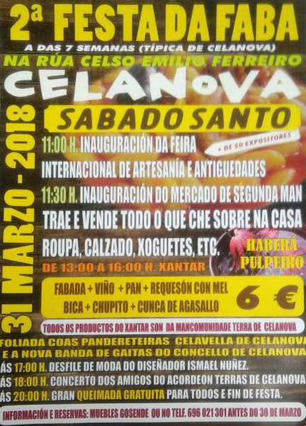 Cartel de la segunda Festa da Faba en Celanova