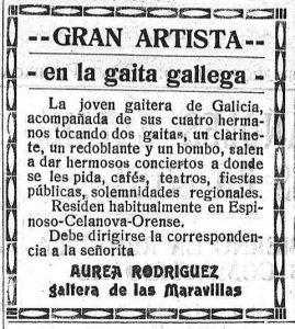 Anuncio publicitario de Áurea Rodríguez, gaitera de las Maravillas/ El Progreso de Lugo (10/7/1921)