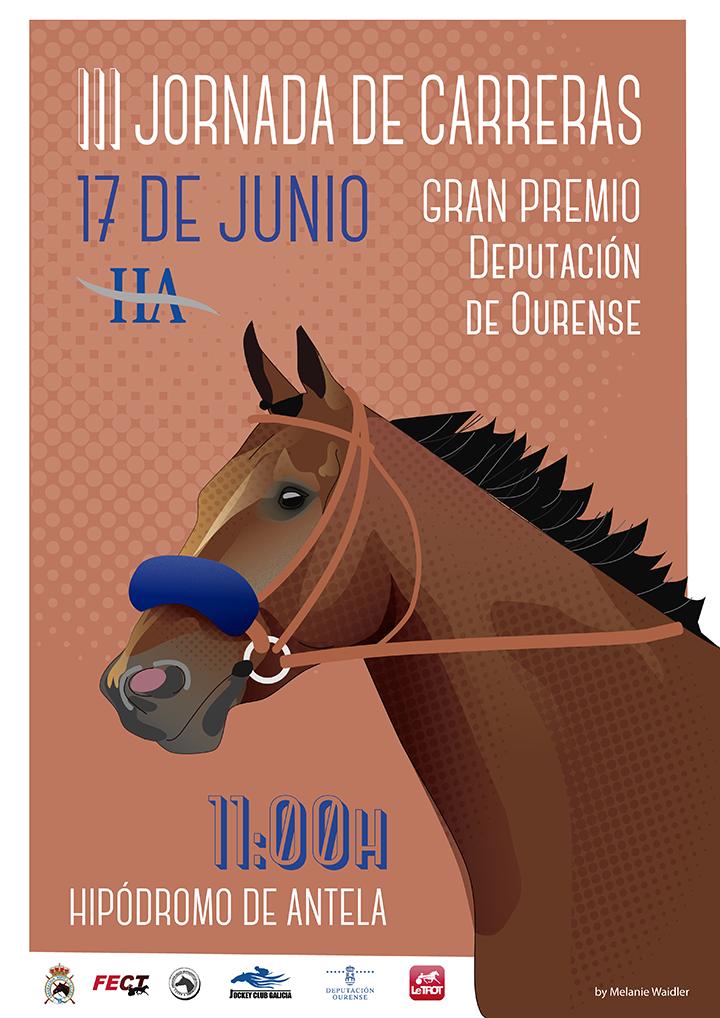 cartel de la III Jornada de Carreras 2018 en el Hipódromo de Antela