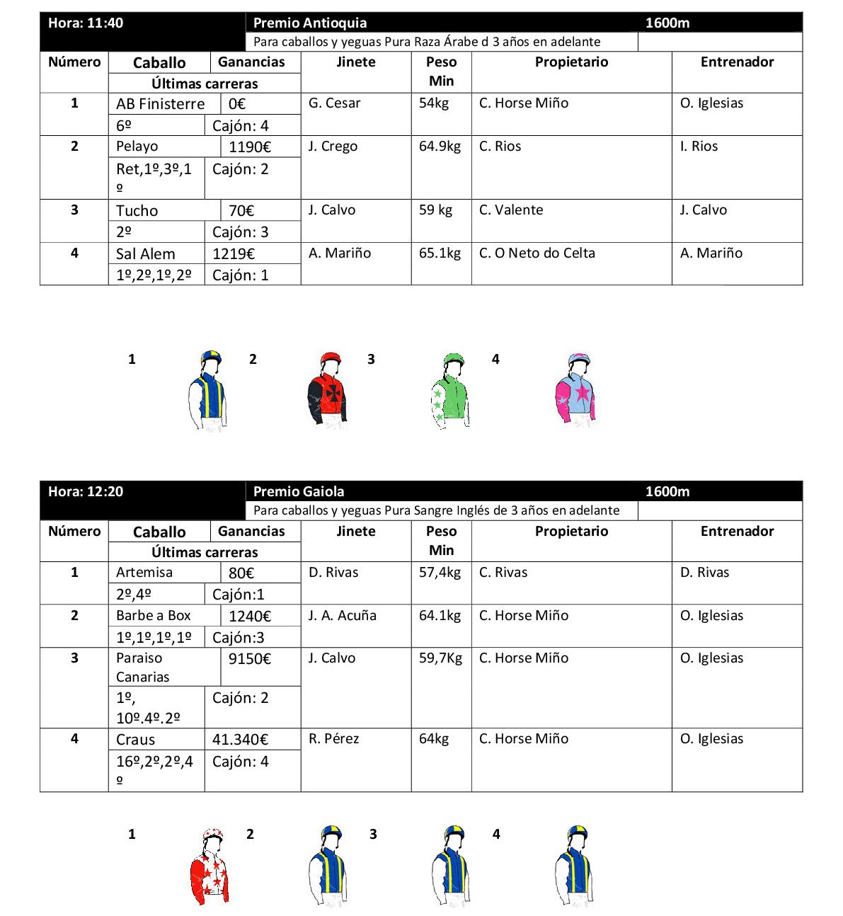 Participantes Premio Antioquía y Premio Gaiola 17 de junio/ Hipódromo de Antela