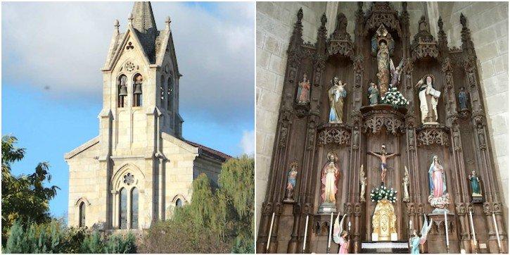Fachada y retablo mayor de la iglesia de Sabucedo de Montes en la actualidad/ La Región
