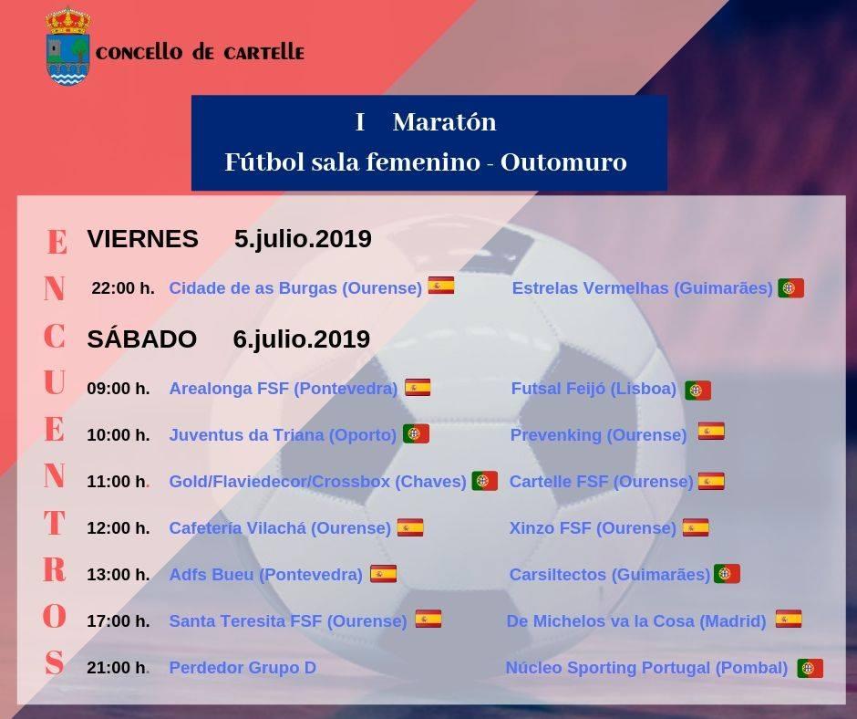 Horario de los encuentros del I Maratón de Fútbol Sala Femenino de Outomuro