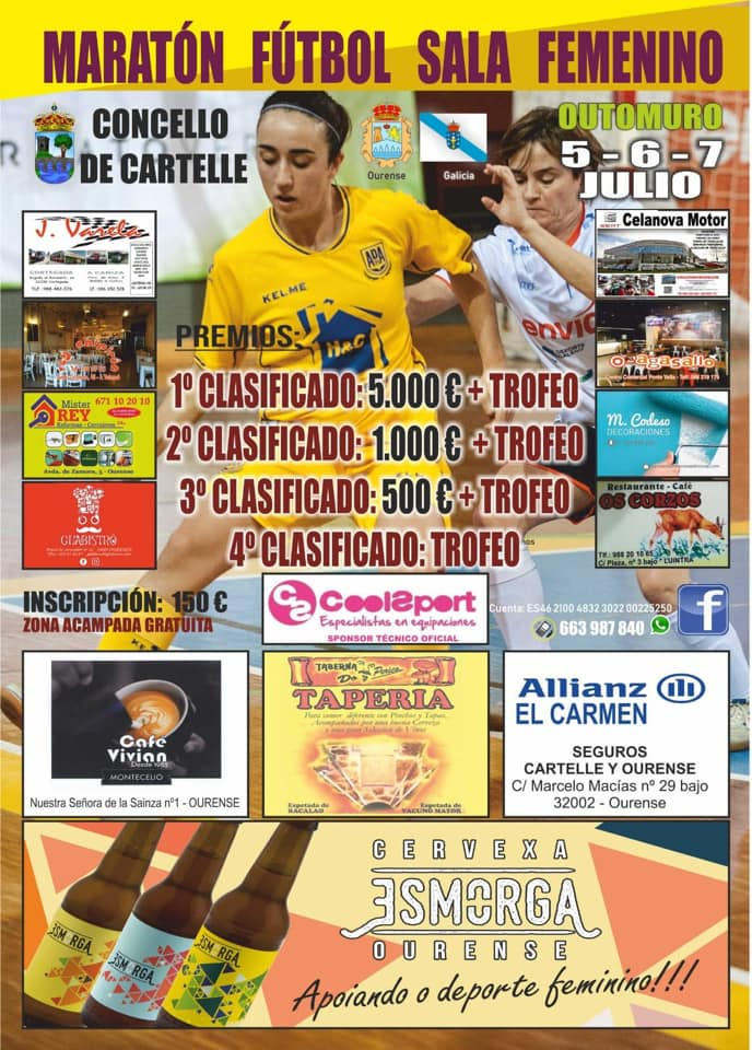 Cartel del primer Maratón de Fútbol Sala Femenino de Outomuro (Cartelle)
