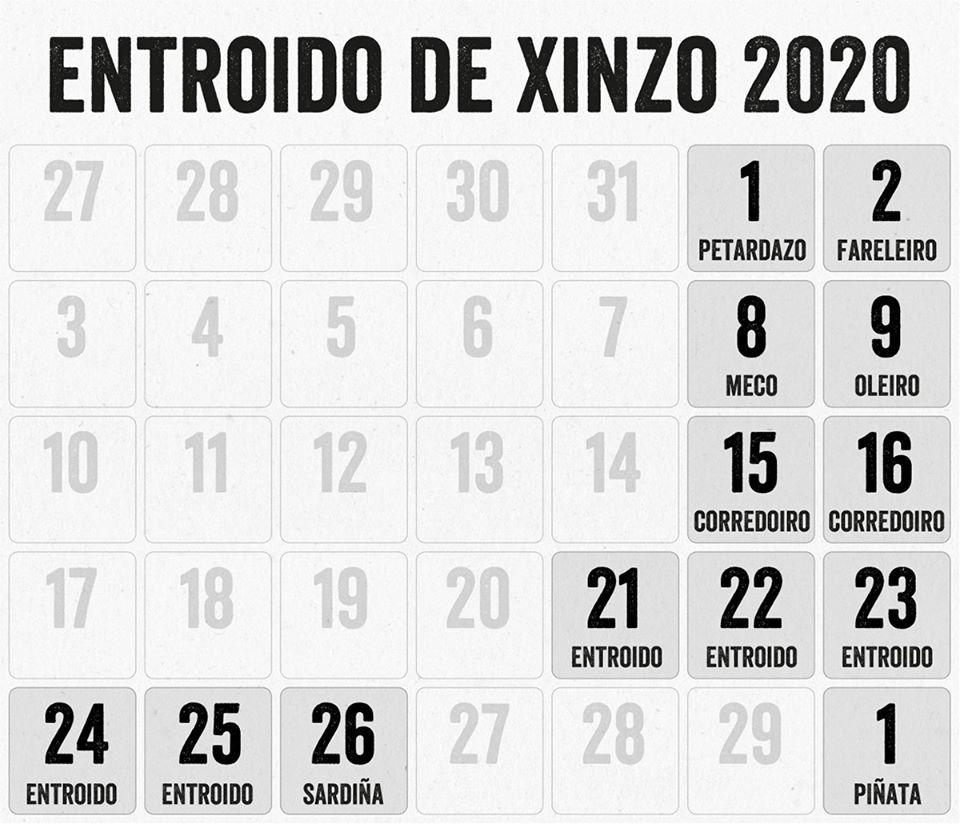 Fechas Entroido de Xinzo 2020