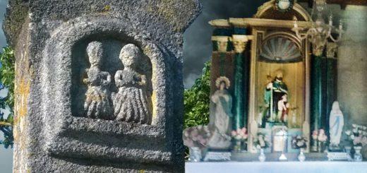 Peto de ánimas y altar de la capilla de San Roque en Trasmiras/ Fotomontaje a partir de imágenes del autor
